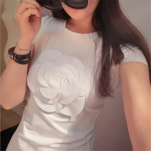 2016 Newest women summer 3d camellia embroidery luxury  t shirt ladies fashion tops slim casual tee shirts vetement femal(China (Mainland))
