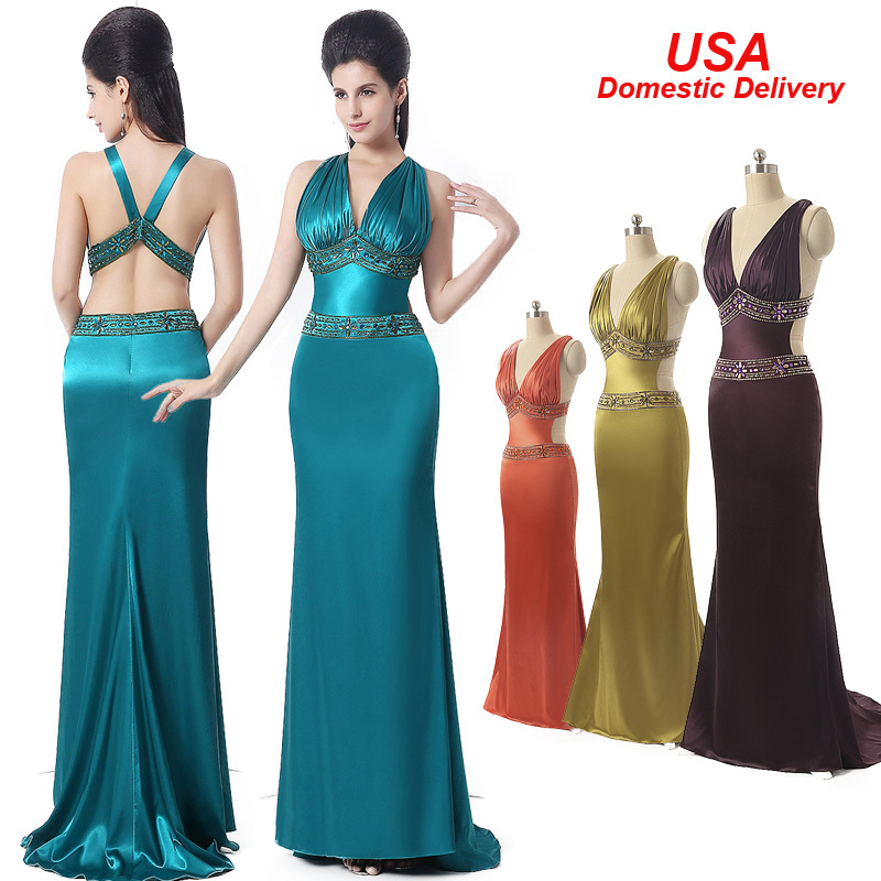 In Stock Long Sexy Prom Dresses 2015 Beaded Tank V-Neck Elegant Special Occasion Dresses Evening Dresses Gown Real Picture SD172(China (Mainland))