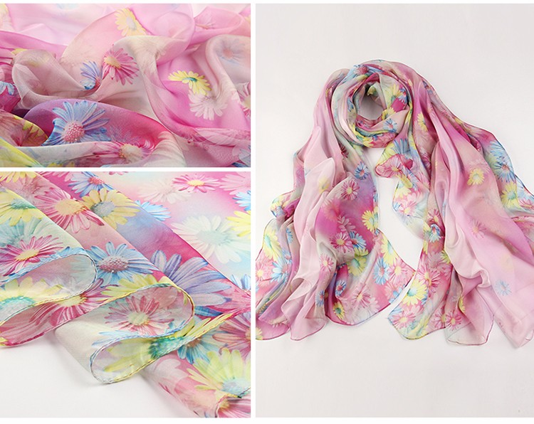 Cheap shawls and wraps for women winter accessories butterfly and flowers printed ladies scarves green oversized silk scarf