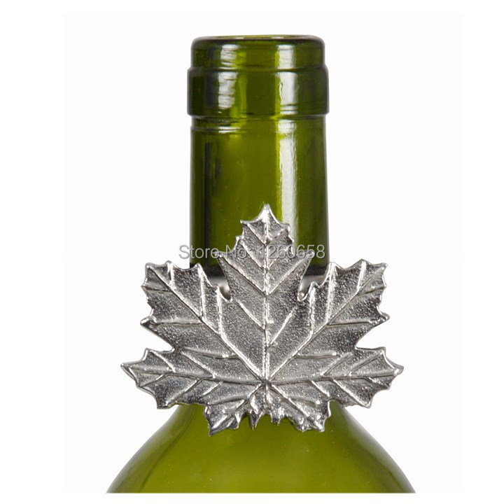 Free Shipment Special Offer Bar Craft Stainless Steel Wine Beer Bottle Grape Leaf Drip Ring Neck Collar Accessory(China (Mainland))