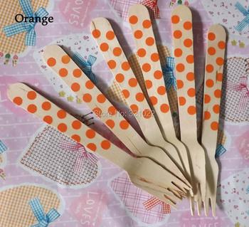 140mm orange dots Wooden Dinner cake forks Flatware Utensils kitchen tools Wood fork tableware Wedding birthday party decoration