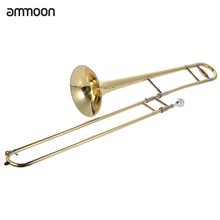 ammoon Tenor Trombone Brass Gold Lacquer Bb Tone B flat Wind Instrument with Cupronickel Mouthpiece Cleaning Stick Case(China (Mainland))