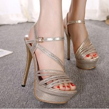 wedges shoes fashion classic fine banquet with shiny rhinestones sexy waterproof heels women shoes Women high-heeled sandals