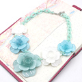 collier acrylic flower necklace 2016 ZHONGLV Jewelry Chain Resin color Flower ZA Statement Necklaces for women