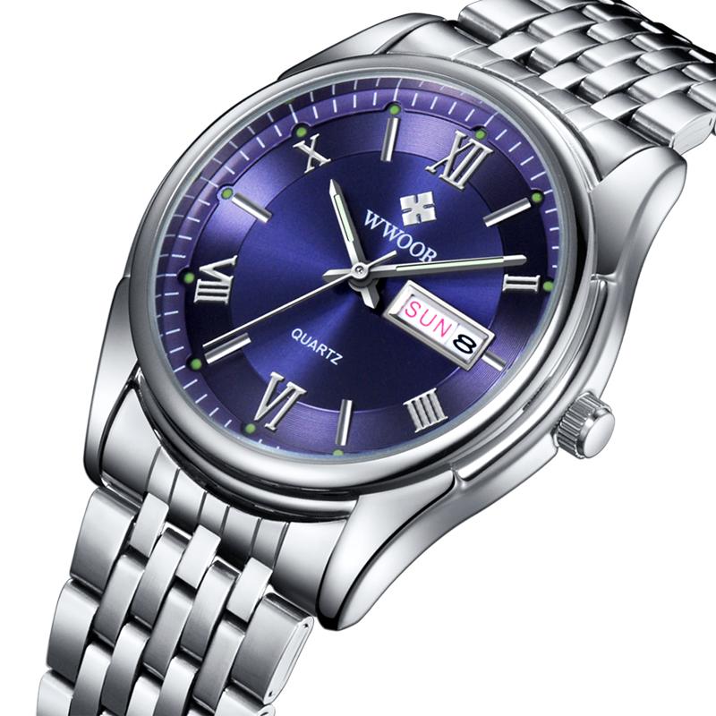 WWOOR Top Brand Men's Watches Auto Date Stainless Steel Back Light Hours Sport Watch Men Casual Quartz Clock Business Wristwatch