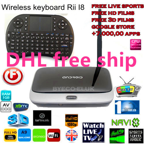 Wholesale 5pcs Q7 Android tv box Quad Core CS918 MK888 mk908 RK3188 Android 4.2 TV BOX XBMC Installed 2G/8G Rii i8keyboard(China (Mainland))