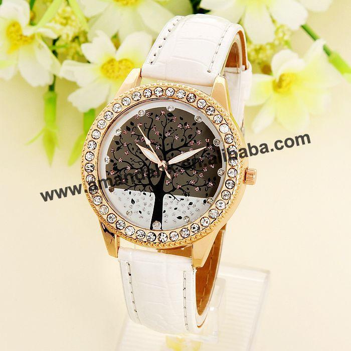 100pcs/lot HY- Wholesale Fashion PU Leather Christmas Tree Watch Woman Diamond Wrist Watches Hot Sale Woman Dress Watches(China (Mainland))