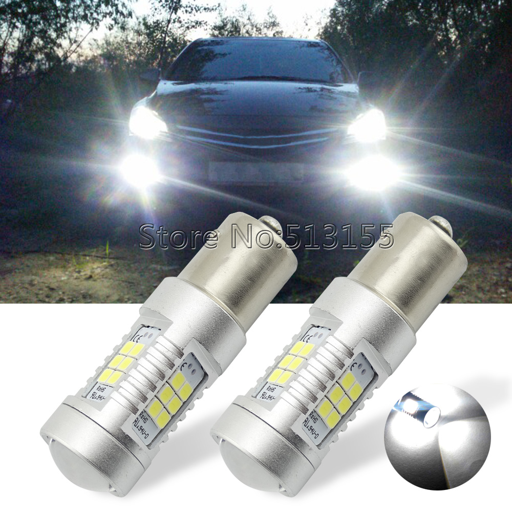 (2PC) White Red 1156 7506 BA15S P21W 21-SMD LED Bulbs Turn Signal, Backup Stop DRL Lights - Bosscar Motoring Store store