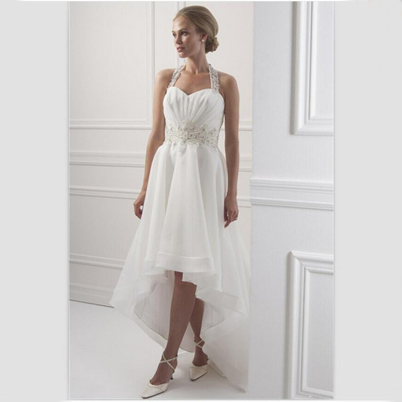 White Organza Wedding Dress Short Front Long Back 2015 Halter Beaded Bridal D