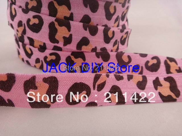 New Arrival Pink Leopard Print FOE Fold Over Elastic 50 Yards/roll 1.5cm Foldover elastic  Free Shipping