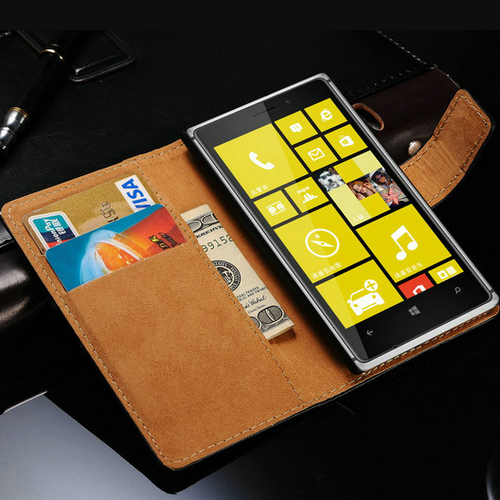 New 2015 Genuine Leather Case For Nokia Lumia 925 Vintage Wallet Style Phone Bag With Stand 2 Card Holders 1 Bill Site(China (Mainland))