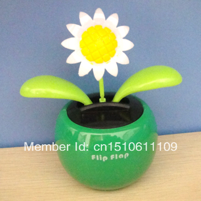 Wholesale 15 Pcs Per Lot Swing Under Sunlight Or Lamp Light No Batterty Green Base Solar Powered Flip Flap Flower(China (Mainland))