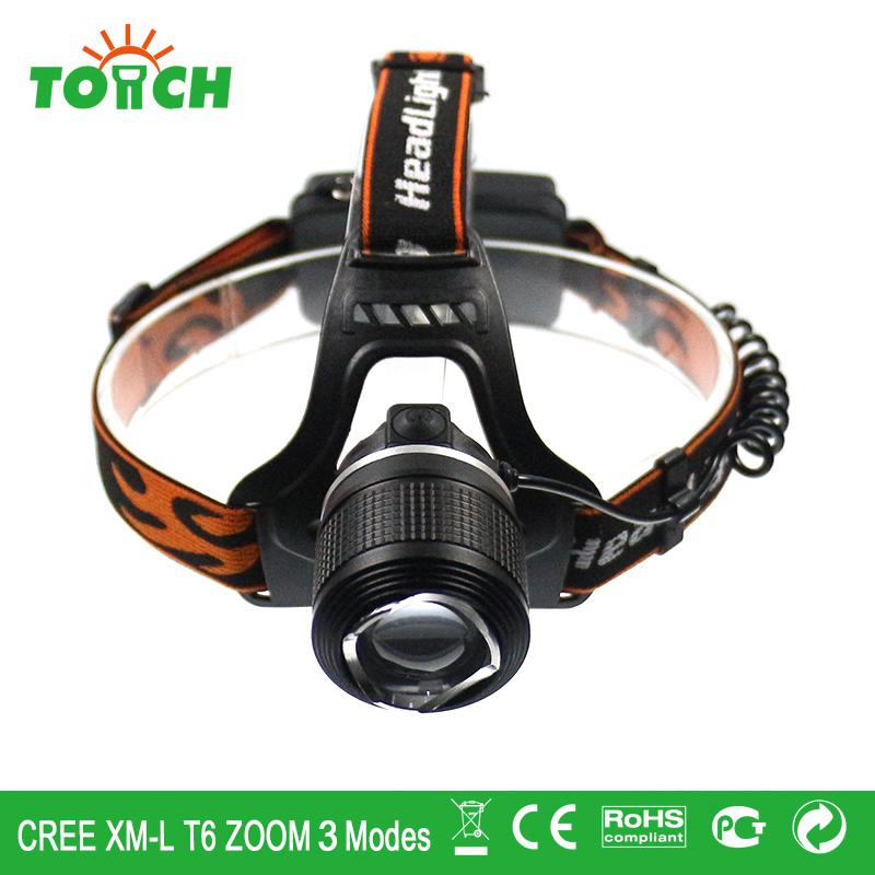 Head wearing lamp CREE XM-L T6 LED headlamp 3 modes headlights 18650 rechargeable cap flashlight for hiking hunting camping(China (Mainland))