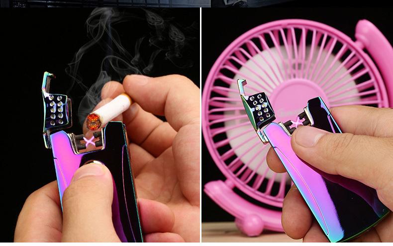 ถูก U ltrathinโลหะคู่อิเล็กทรอนิกส์Arc Windproofเบาไฟแช็บุหรี่หรูหราแบบชาร์จUSBเบาผู้ชายสูบบุหรี่แกดเจ็ต
