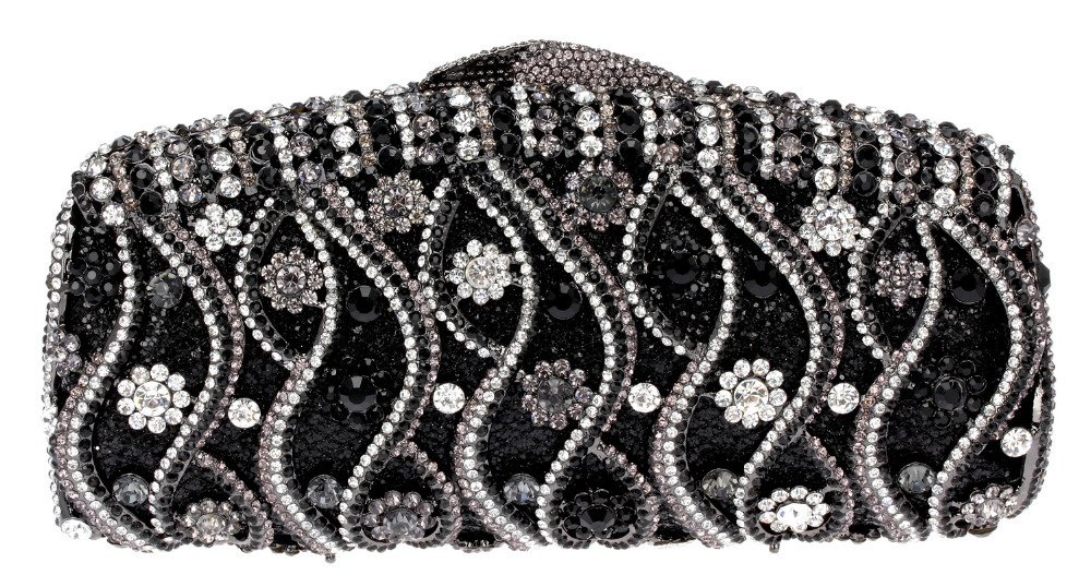 2016 Lady Style Black Color Hot Selling New Design Deluxe Oval Shape Ladies Evening Party Clutches Full Crystals Metal Women(China (Mainland))