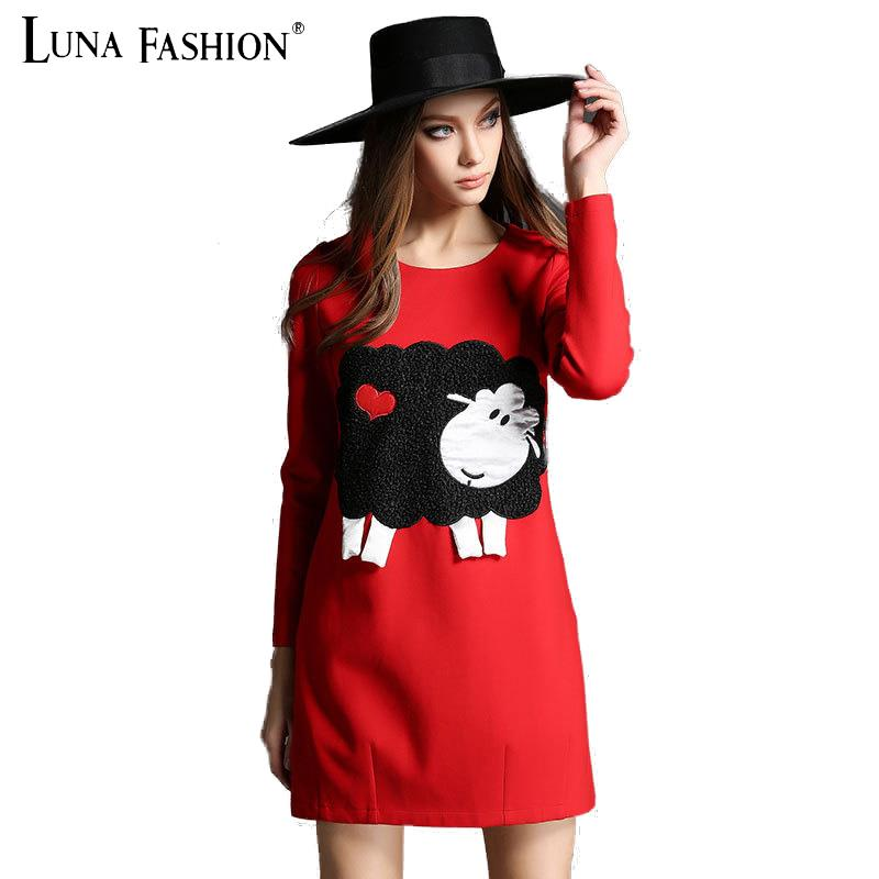 5XL plus size women 4XL 3XL 2XL 2015 winter fashion 3D little sheep embroidery long sleeve tshirt dress red black ladies dresses