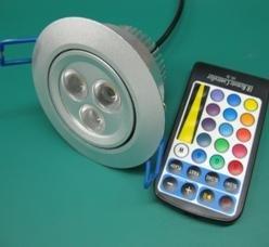 3*1 RGB LED ceiling light with IR controller;AC 110-240V input;E27 base;