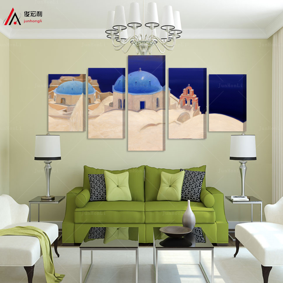 Large modern canvas oil painting Aegean Sea Castle for living room wall Blue wind pictures Modules furnishing pop art print(China (Mainland))