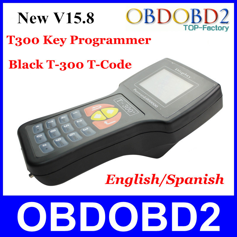 New Black V15.8 T300 Key Programmer Newest Version Auto Transponder T-300 T 300 Key Maker Read IMMO&ECU ID EN/SP DHL Fast(China (Mainland))