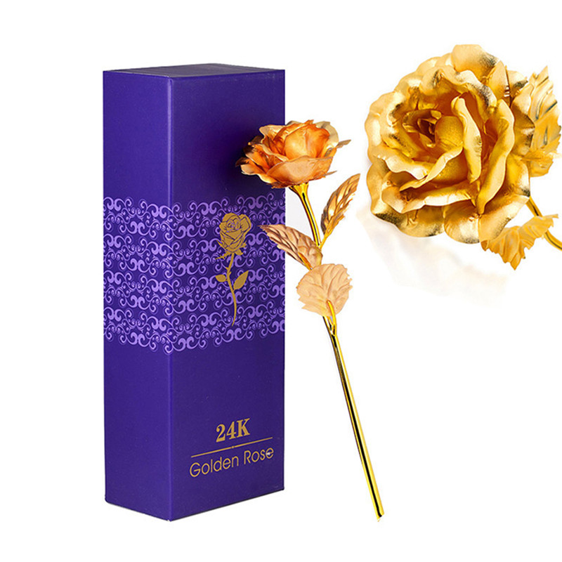 25CM Valentine's Day 24k Gold Foil Rose Flower Handcrafted Handmade Dipped Long Stem Lovers Wedding Gift Purple Box T15 0.5(China (Mainland))
