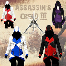 Assassins Creed 3 III Conner Kenway Hoodie Coat Jacket Anime Cosplay Assassin'S Costume Cosplay Overcoat Free Shipping(China (Mainland))
