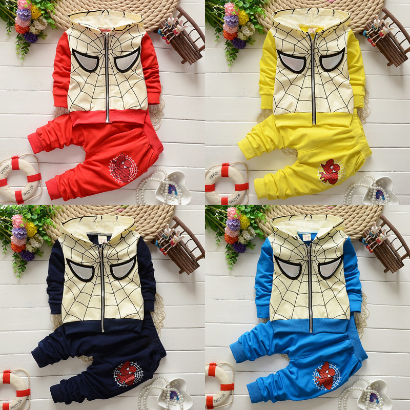 2015 boy set Spiderman Autumn style cotton kid clothing printing Hoodie + pant blue yellow Cartoon Sports suit vetement enfant(China (Mainland))