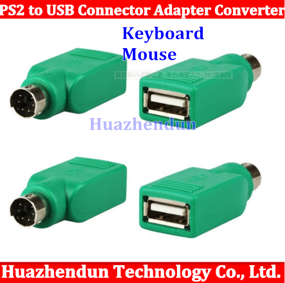 Free shipping 100pcs Keyboard Mouse PS2 PS/2 to USB Connector Adapter Converter High quality(China (Mainland))
