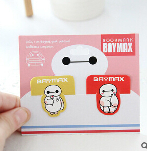 Novelty Big Hero 6 The Baymax Paper Bookmark Funny Bookworm Gift Stationery Promotional Gift Stationery FOD(China (Mainland))