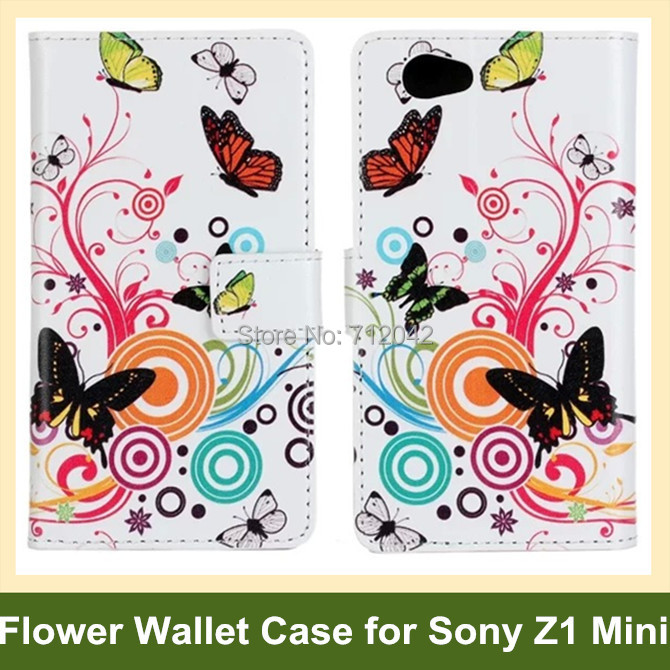 Fashion Animal Dog Butterfly Flower Print Wallet Flip Cover Case for Sony Xperia Z1 Mini/M51w/Z1 Compact 10pcs/lot Free Shipping