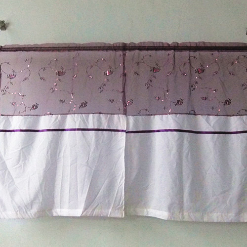 In 2015, the new free shipping sequins embroidery stitching kitchen curtains(China (Mainland))