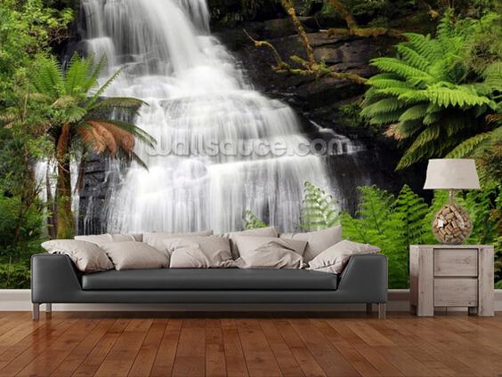 custom landscape wallpaper 3d rainforest waterfall for