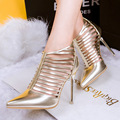 New Fashion High Heel Shoes 4 Color Pointed Toe Hasp Ankle Strap Thin Heels Sexy Party