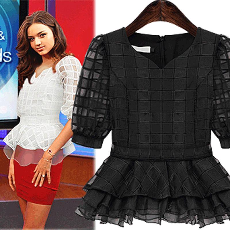 S-6XL!! Sale Women Blouses 2015 Fashion Plus Size Women Clothing Summer Chiffon Lace Blouse Ladies Blouse White Blouse Shirt(China (Mainland))