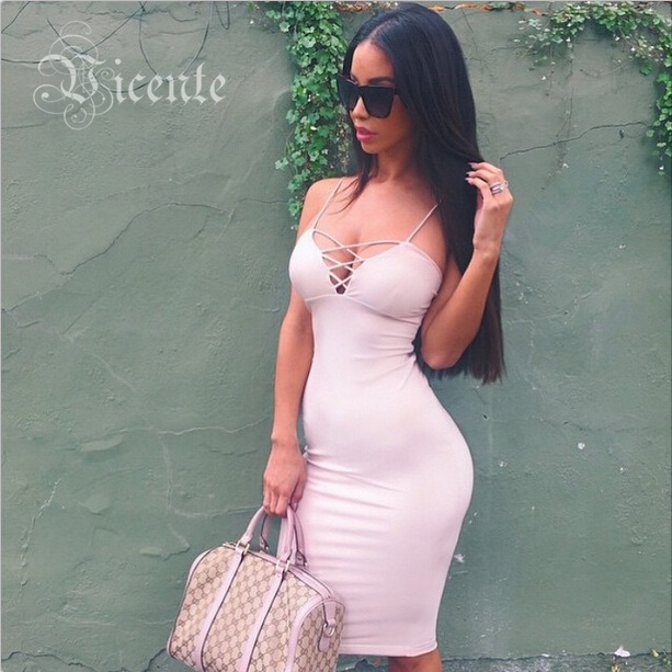 2015 New Fashion Deep Vneck Criss Cross Straps Mi Amore Series Shift Bodycon Bustier Dress VJ028 Women Celebrity Club Party Wear от Aliexpress INT