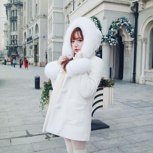 Princess sweet lolita skirt Bobon21 Exclusive design Real snow fox wool 80% wool coat jacket bladder custom 25 days C1318(China (Mainland))