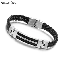 2016 New Arrival Mens Bracelets & Bangles Titanium Steel Silicone Rubber Bands Leather Bracelet Pulseira Men Jewelry YK2050(China (Mainland))