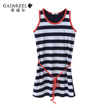 Striped cotton nightdress sexy song Riel Ms simple and comfortable pajamas male home service package bustling