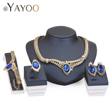 Maxi Necklace Fine Women African Beads Jewelry Sets For Party Bridal Crystal Wedding Dress Accessories Set Earrings Pendants