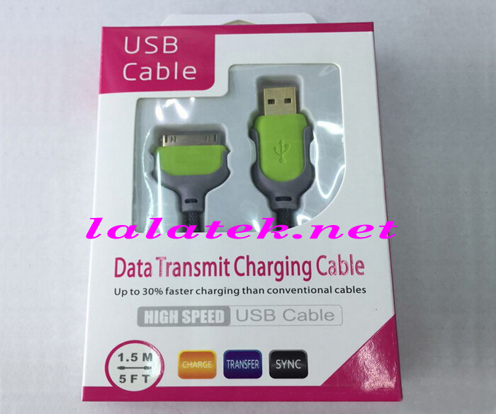 High Quality 1.5 M Charger cable USB DATA CABLES polyamides cell phone cables Micro for iPhone 4 4S With Retail Package 20pcs(China (Mainland))