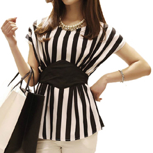 New Spring 2014 Striped Print Chiffon Women Blouses Casual Tops For Women Blouse & Shirt Ladies Clothing  Plus Size Body