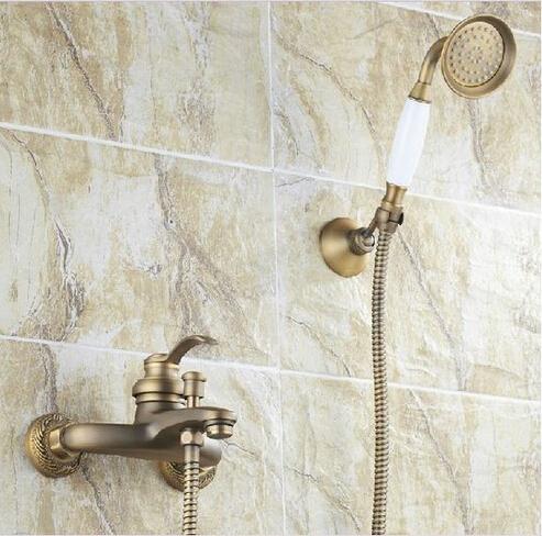 Special Design Retro Antique Brass Bath Shower Faucet Set Exposed Hand Shower Set Bathroom Wall Mounted Shower Valve Set HJ-2587(China (Mainland))