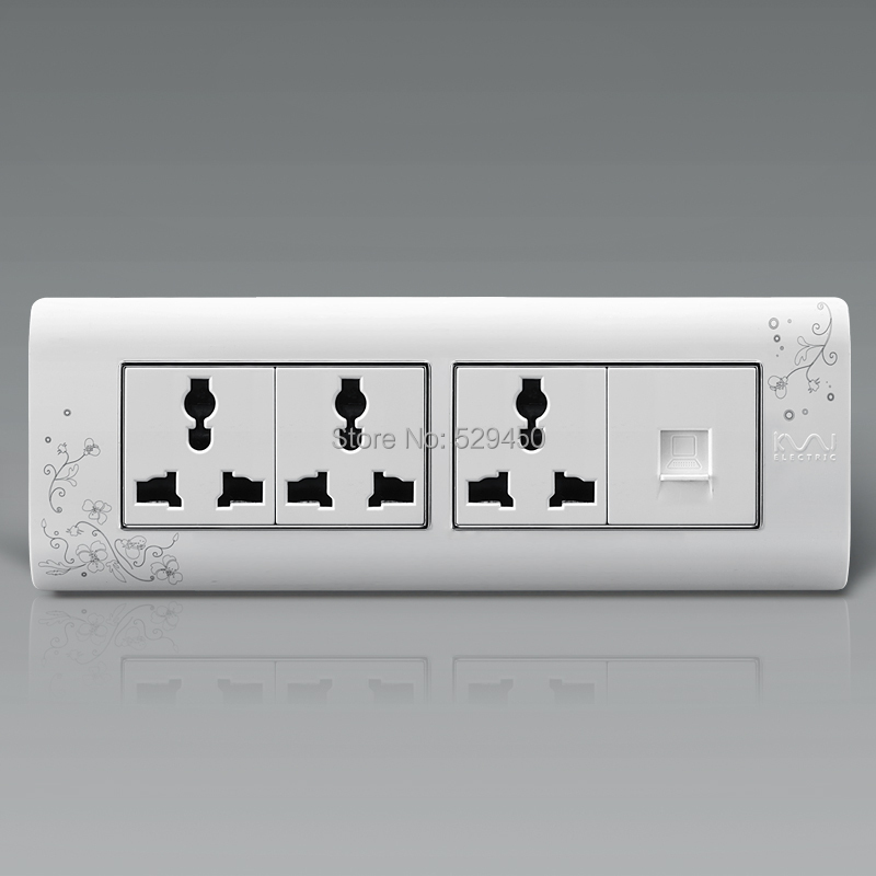 Free Shipping, Kempinski Luxury Single Computer With Triple Electrical Socket, 9 Hole Wall Power Outlet, 195mm*72mm()