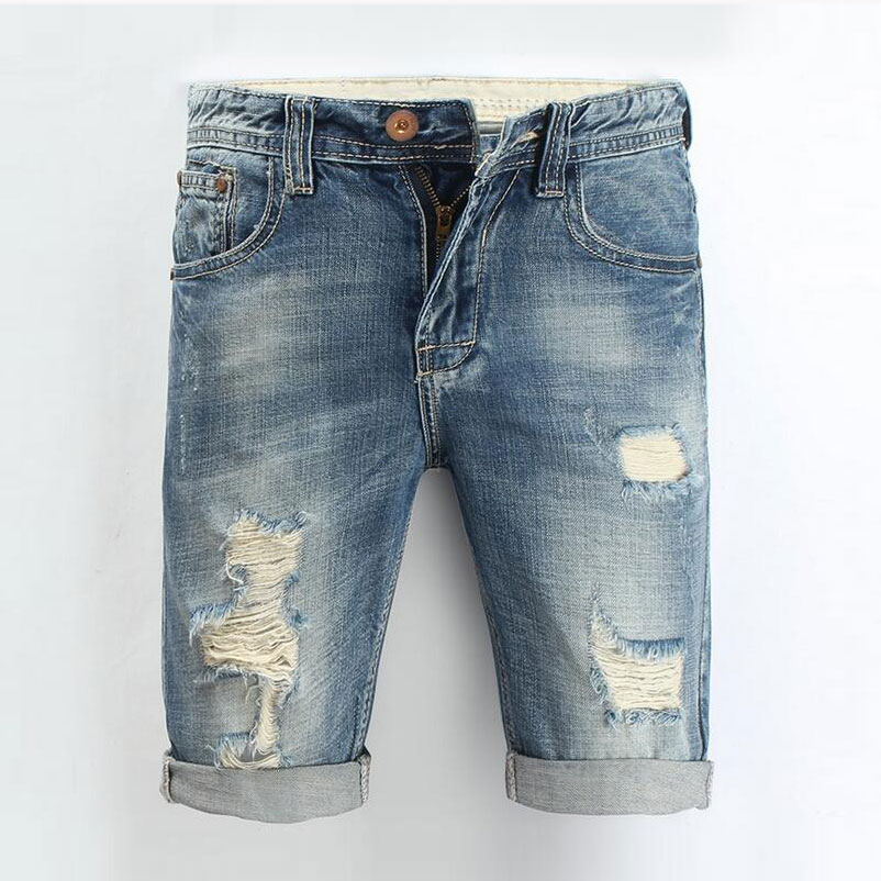 Men Jeans 2016 Summer Casual Men Jeans Shorts Hole High Quality Fashion Knee Length Ripped Jean For Men Brand Pants Shorts(China (Mainland))