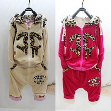 2015 Fashion Leopard Print Children Clothing Set Baby Girl Hoodies Coat+Pants Brand Kids Clothes Girls Clothes Kids Suits 5 Sets(China (Mainland))