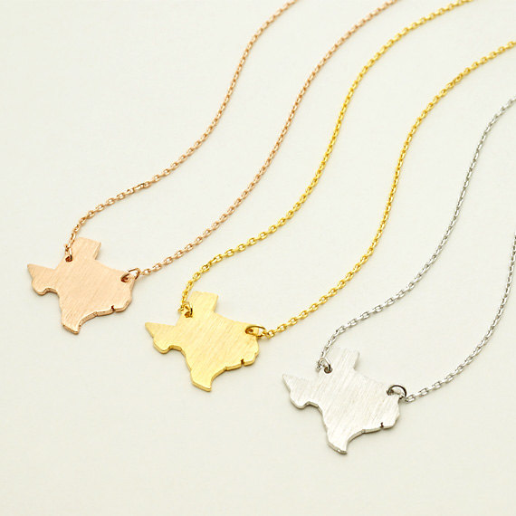 Fast Colour Stainless Steel USA Map Texas Necklace Long Necklaces<br><br>Aliexpress