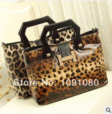 2014 spring and summer new European style wooden handle leopard woman handbag, shoulder bag(China (Mainland))