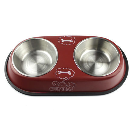 New Creative Stainless steel pet double bowl for Dogs Cats and small pet food water bowl rice basin bowl pet supplies(China (Mainland))