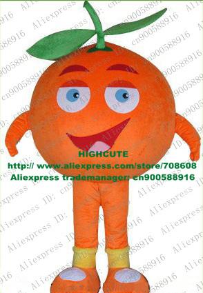 Sweet Orange Arancia Mandarin Tangerine Mandarino Fruit Mascot Costume With Green Leaves Red Curved Brows No.4756 Free Shipping(China (Mainland))