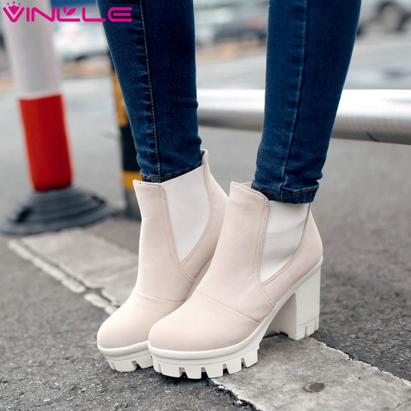 Гаджет  vinlle 2015 botas women rain boots fashion ankle boots high heeled shoes thick heel platform motrocycle wedding snow size 34-39 None Обувь