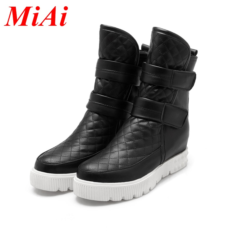 fashion women ankle boots wedge heels big size 34-43 ladies casual shoes black white winter boots platform classic shoes woman